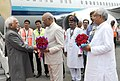 The Vice President, Shri M. Hamid Ansari being received by the Governor of Bihar, Shri Ram Nath Kovind and the Chief Minister of Bihar, Shri Nitish Kumar, on his arrival, in Patna on June 24, 2016.jpg