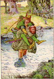 """The friar took Robin on his back"" Illustration by Louis Rhead to Bold Robin Hood and His Outlaw Band: Their Famous Exploits in Sherwood Forest"