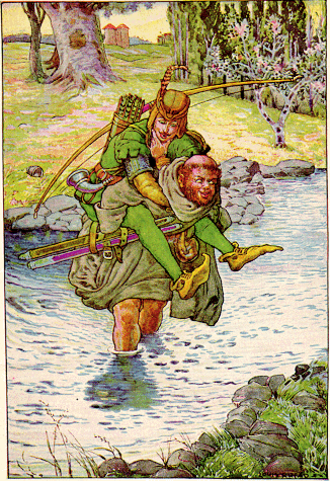 "Friar Tuck - ""The friar took Robin on his back"" Illustration by Louis Rhead to Bold Robin Hood and His Outlaw Band: Their Famous Exploits in Sherwood Forest"