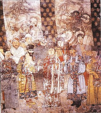 Yuan poetry - In mid Imperial China, characters in theatrical performances wore elaborate costumes and stereotyped facial makeup, shown here in a large Yuan dynasty (1279-1368 AD) mural in a hall of the Guangsheng Temple in Hongtong, Shanxi province.