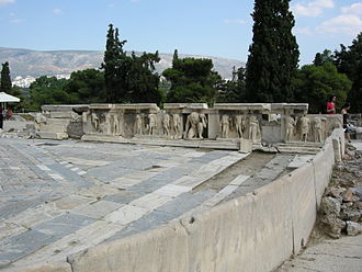 Theatre of Dionysus - Theatre of Dionysus Eleuthereus, Athens, Roman stage building with re-used reliefs