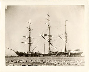 Thermopylae (clipper) - Thermopylae at sea wall, San Francisco, California, 1880
