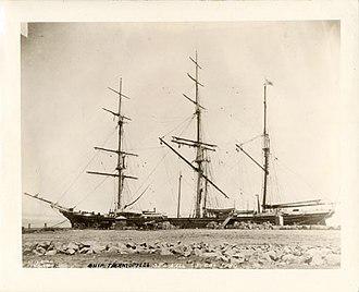 Thermopylae (clipper) - Thermopylae at sea wall, San Francisco, California, 1880