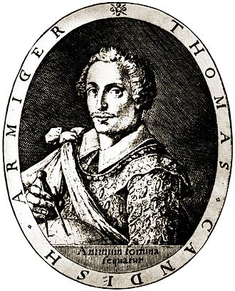 "Thomas Cavendish - An engraving from Henry Holland's Herōologia Anglica (1620). Animum fortuna sequatur is Latin for ""Fortune follows the spirited."""