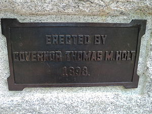 Thomas Michael Holt - Plaque to Governor Holt on the Major Joseph Winston monument,  commemorating Holt's role in establishing Guilford Battle Ground Company and his gift of the Winston monument