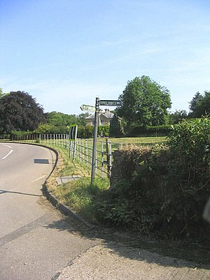 Three Shires Way - Tyringham. Signpost to diff...