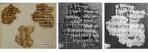 Fragmentarium - Multispectral image of palimpsest fragments Or. 6581 with infrared (middle) and ultraviolet (right)