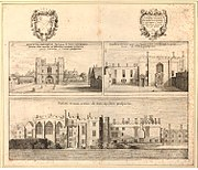 Three views on one plate of the Priory of St John of Jerusalem in Clerkenwell by Wenceslaus Hollar