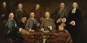 "Petrus Camper - Camper's Anatomy lesson painted in 1758 commemorating his instalment as ""praelector"" of the Surgeon's guild in 1755 in Amsterdam. This painting hung in the Waag and later in the Athenaeum Illustre of Amsterdam"
