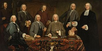 "Petrus Camper - Camper's Anatomy lesson painted in 1758 commemorating his installment as ""praelector"" of the Surgeon's guild in 1755 in Amsterdam. This painting hung in the Waag and later in the Athenaeum Illustre of Amsterdam"