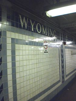 Tiles on wall of Wyoming SEPTA station, August 2010.jpg