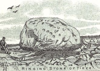 Tiree - The Ringing Stone – a Cup and ring mark  stone in 1892.