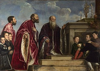 Portrait of the Vendramin Family - Image: Titian and workshop The Vendramin Family, venerating a Relic of the True Cross Google Art Project