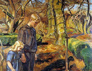 To børn begraver en fugl