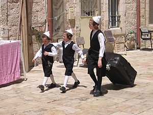 Toldos Aharon (Hasidic dynasty) - Toldos Aharon children dressed for Shabbat, Mea Shearim, 2007