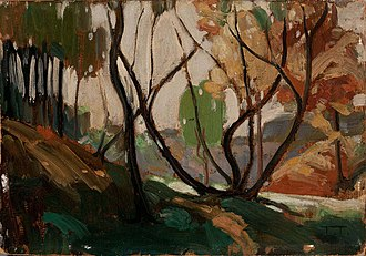 Artistic development of Tom Thomson - Sketch for Opulent October, 1915. 17.2 × 24.1 cm (6¾ × 9½ in). Private collection