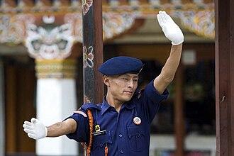Law enforcement in Bhutan - Traffic police in Thimphu.