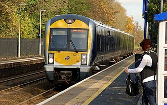 Belfast–Newry line - Image: Train, Dunmurry station geograph.org.uk 1558797