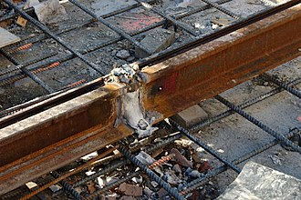 Exothermic welding - Tram tracks recently joined