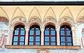 Trento, palazzo geremia, con affreschi di scuola veronese o vicentina del 1490-1510 ca. 02,1 quadrifora superioe.jpg