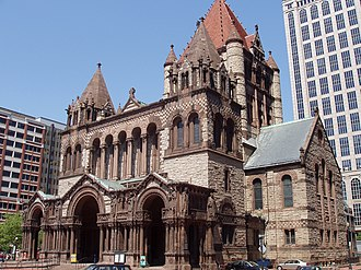 Richardsonian Romanesque - Trinity Church in Boston, an exemplar of Richardsonian Romanesque style.