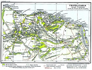 Italian Tripolitania - 1913 map of Italian Tripolitania. Green indicates agricultural areas.