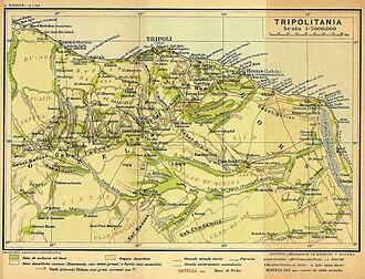 Italian Tripolitania - 1913 map of Italian Tripolitania. Green indicates agricultural areas.