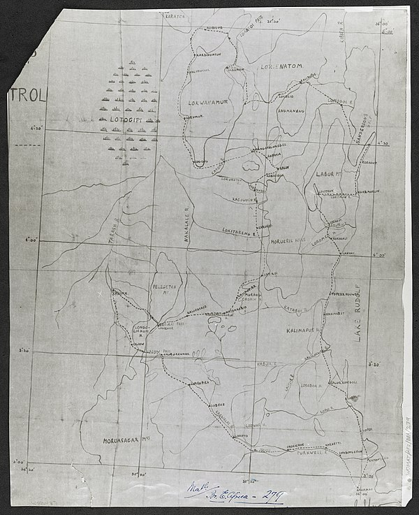 600px turkana. sketch map of route in   war office ledger %28womat afr bea 279%29
