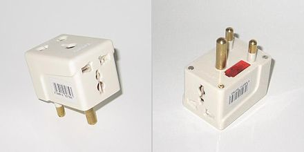 "A travel adaptor for ""Type M"" (16 A SANS 164-1) sockets from South Africa. Type M travel adaptor.jpg"