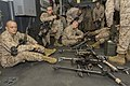 U.S. Marines and Sailors assigned to Battalion Landing Team, 3rd Battalion, 2nd Marine Regiment, 26th Marine Expeditionary Unit (MEU) perform maintenance on their M252 81 mm mortar systems in the hangar bay 130318-M-BS001-006.jpg