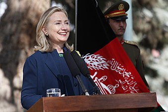U.S. Secretary of State Hillary Rodham Clinton makes remarks during a press conference with Afghan President Hamid Karzai, not shown, at the Presidential Palace in Kabul, Afghanistan 111020-S-PA947-993.jpg