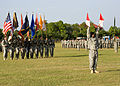 U.S. Soldiers, of U.S. Army Signal Center, and Fort Gordon use the traditional wigwag signal method to direct the troops, at Signal Center commanding general change of command ceremony, on Fort Gordon, Ga. 100721-A-NF756-019.jpg