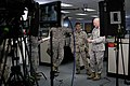 U. S. Marine Corps Sgt. Maj. Micheal P. Barrett, right, the 17th Sergeant Major of the Marine Corps, participates in the filming of a video in the Consolidated Administration Center on Joint Base Myer-Henderson 130409-M-OL349-027.jpg