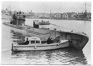 The U-1023 in Plymouth harbour, May 1945