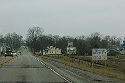 Entering Ashley on U.S. Route 6