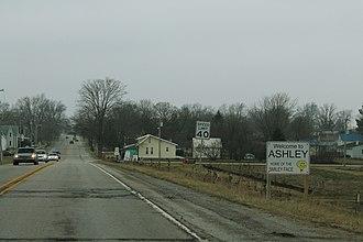 Ashley, Indiana - Entering Ashley on U.S. Route 6