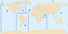 Áreas de responsabilidade para cada uma das frotas da Marinha dos Estados Unidos.