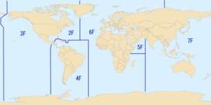"United States Third Fleet - The areas of responsibility of the United States Second (marked ""2F""), Third (""3F""), Fourth (""4F""), Fifth (""5F""), Sixth (""6F""), and Seventh (""7F"") Fleets in 2009."