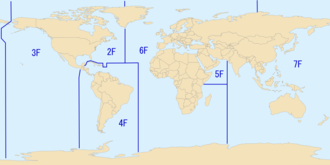 Areas of responsibility for each of the United States Navy fleets. Tenth Fleet serves as the numbered fleet for U.S. Fleet Cyber Command and therefore is not shown. USN Fleets (2009).png