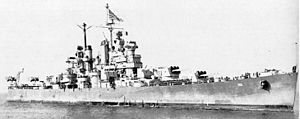USS Amsterdam (CL-101) - Image: USS Amsterdam (CL 101) at Astoria, 14 October 1945