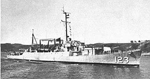USS Diachenko (APD-123) off San Diego on 8 April 1967