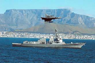 Atlas Cheetah - A Cheetah flying over USS ''Forrest Sherman'' in Table Bay