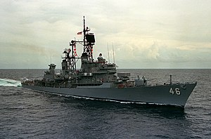USS Preble (DDG-46) underway in the Pacific Ocean on 1 April 1986 (6418101)
