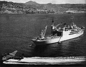 USS Salisbury Sound (AV-13) with VP-47 PBM at Iwakuni c1951.jpg