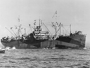 USS Sarasota (APA-204) at Lingayen Gulf on 8 January 1945..jpg