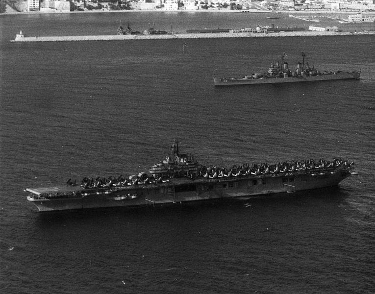 File:USS Tarawa (CV-40) and USS Macon (CA-132) at anchor in the Med c1952.jpeg