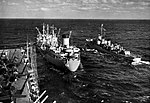 USS Valley Forge (CV-45) approaching USS Tolovana (AO-64), in 1951-1952.jpg