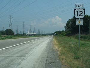 U.S. Route 12 in Indiana - Burns Harbor section near intersection with Indiana 149
