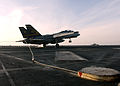 US Navy 050121-N-5345W-242 An F-14B Tomcat catches arresting wire number three while making a successful recovery on the flight deck aboard the Nimitz-class aircraft carrier USS Harry S. Truman (CVN 75).jpg
