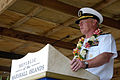 US Navy 070829-N-6410J-148 Adm. Robert F. Willard, commander of U.S. Pacific Fleet, addresses guests at the Pacific Partnership welcoming ceremony in the Republic of the Marshall Islands.jpg